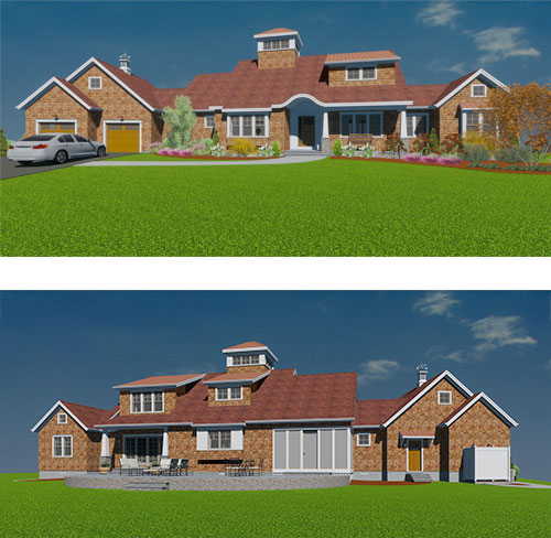 Proposed front (top) and rear (bottom) renderings